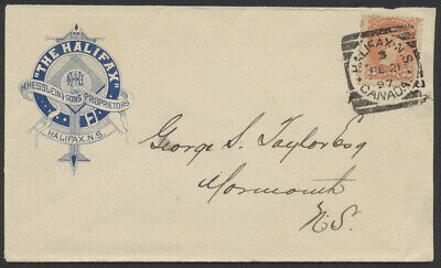 1897 The Halifax (Hotel) Advertising Cover, Halifax Squared Circle 3 FE 21 97