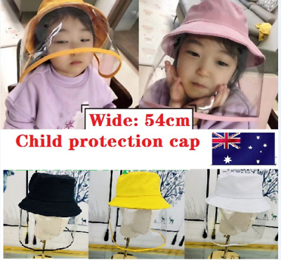 Kids Anti Flu Protection Bucket Hat + Face Cover Removable Windproof Child Cap +