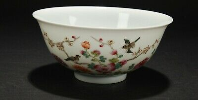 An Estate Chinese Vividly Detailed Poetry-framing Porcelain Fortune Bowl