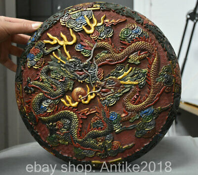 """12"""" Qianlong Marked Old lacquerware Painted Qing Dynasty 2 Dragon jewelry Box"""
