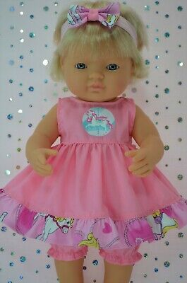 Play n Wear Dolls Clothes For 38cm Miniland Doll PINK DRESS~BLOOMERS~HEADBAND