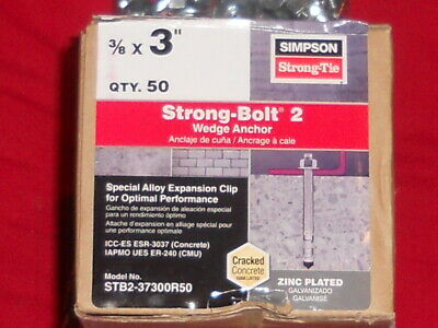"""Simpson Strong-Tie STB2-37300R50 3/8"""" x 3"""" Strong-Bolt2 Wedge Anchor 50ct"""