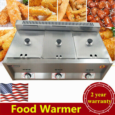 3-Pan Gas Food Warmer Steam Table Steamer 3 Hot Wells, Capacity 3*6L USA