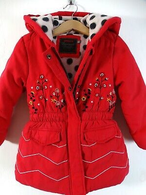Catimini French Designer Girls Padded Hooded Winter Coat Red Age 3-4 Size 4