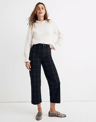 Madewell Slim Emmett Wide-Leg Crop Pants in Space-dyed Windowpane Check Size 26