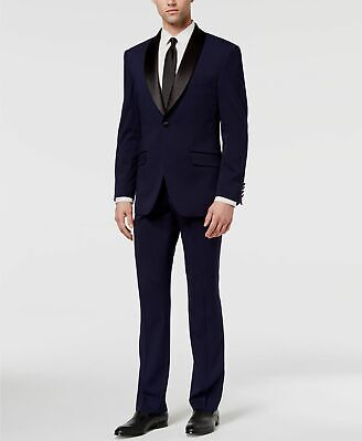 $725 Perry Ellis 42L Men's Blue Slim Fit 2 Piece Suit Tuxedo Blazer Jacket Pants