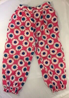 M&S Marks & Spencers Girls Kids Trousers Pink Flower Elasticated Waist 5-6 Year