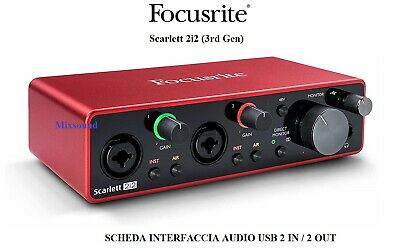 FOCUSRITE Scarlett 2i2 3rd Gen Scheda Interfaccia Audio MIDI USB 2in / 2out