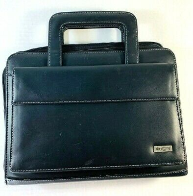 Franklin Covey Day One Black Planner Binder w/ Handles 7 Rings Zipper Classic
