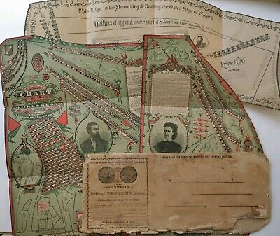 Antique 1876 Cornwell's Self Fitting Chart Dress Cutting Dressmaker Tailor Forms