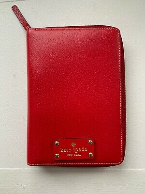 Kate Spade Wellesley Agenda,Personal Size Leather Planner,Red, Pink & Nude Color