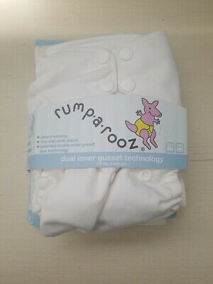 Kanga Care Rumparooz One Size Cloth Diaper with inner gusset. Color: White