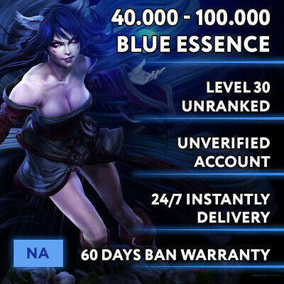 🗽NA League of Legends LOL Account Smurf 30.000 - 70.000 BE Unranked Level 30+