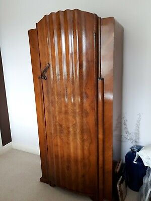 Single Art deco wardrobe, walnut veneer, vintage