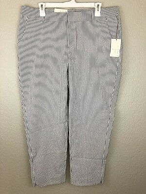 A New Day Womens 14 Gray White Striped Stretch Seersucker Slim Ankle Pants New