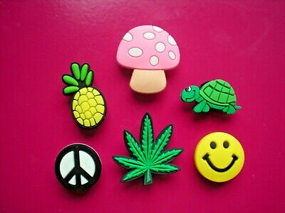 Shoe Charm Accessory Plug Button Marijuana Sun Flower Compatible w/Crocs Holes