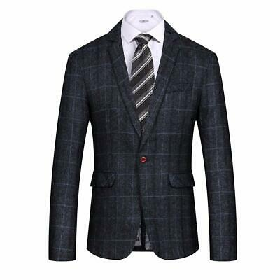 MAGE MALE Men's Casual Blazer Slim Fit Plaid One Button Business Suit Jacket Spo