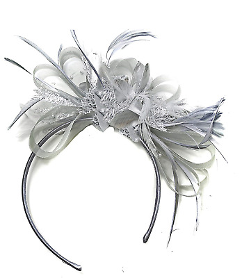 Silver Grey Net Hoop Feather Hair Fascinator Headband Wedding Royal Ascot Races,
