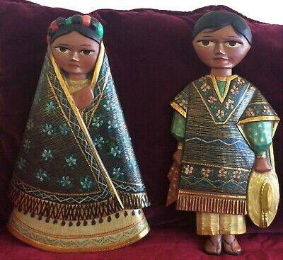 Vintage Pineda Wood Hand Carved-Painted Couple in Native Dress-Beautiful