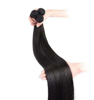 "22"" Indian Virgin 9A Grade Human Hair Extensions Weft / Weave Natural Black #1B"
