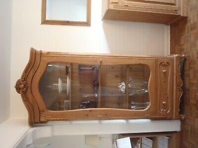Pine Large Armoire with glass door and one drawer.