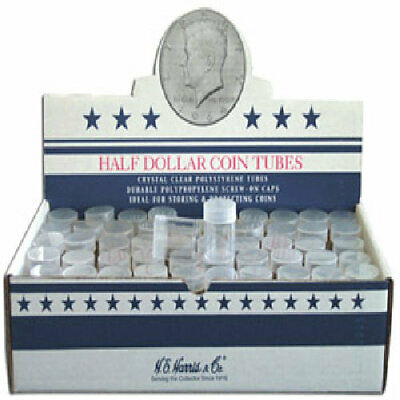 Clear Round Half Dollar Coin Tubes by HE Harris, 10 tubes