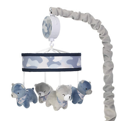 Lambs & Ivy Blue Camo/Camouflage Gray Bear Musical Baby Crib Mobile Soother Toy