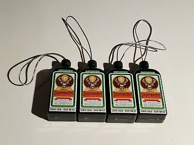 Jagermeister Holiday Ornaments Lot of 2 White Logo Disc and Green Jager Bottle
