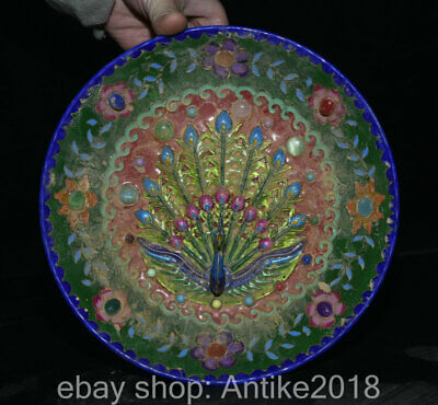 """8.8"""" Marked Old China Wucai Porcelain Gems Palace Dynasty Peacock Plate Dish"""