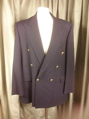 Marks & Spencer Wool Blend Navy Double Breasted Gold Button Blazer C44M