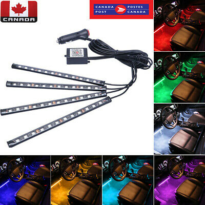 4x 48LED RGB LED Car Interior Light Neon Atmosphere Ambient Music Control Lamp