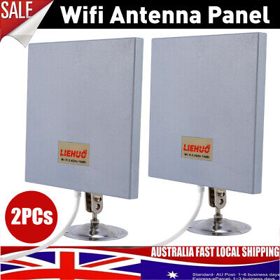 2Pcs Antenna Panel 2.4Ghz 14DBI High Gain WiFi Wlan SMA Directional Long Range