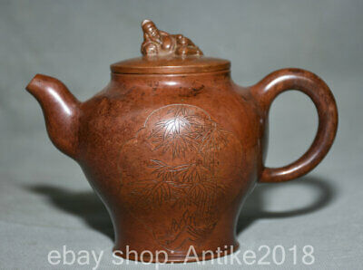 "5"" Chinese dynasty Palace Red Bronze Li Bai Bamboo copper pot teapot flagon"