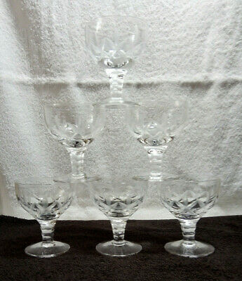 6 x Vintage Lead Crystal Glass Opaque Cut Sherry / Port / Apertif Glasses