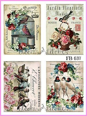 ~ Shabby Chic Vintage French Spring Birds Romance Fabric Block Quilting FB 194 ~