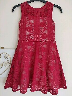 Stunning Girls River Island Party Dress Age 9 Years Red Lace