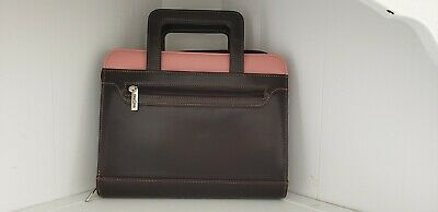 Franklin Covey Day One Brown Pink Binder Planner Organizer Handles 7 Rings