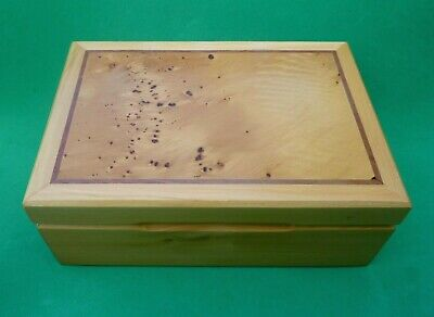 Birch Burr Burl Russian Wood Hand Made Trinket Box Hinged Signed Collectible