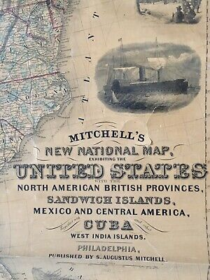 Mitchell's New National Map United States, Cuba, C.America-LG Rare Wall Map-1857