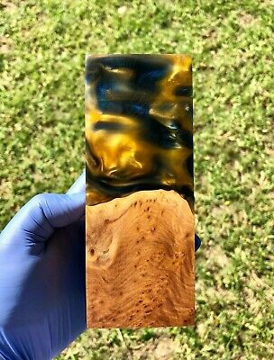 Large Size Stabilised Brown Mallee Burl Hybrid Block Knife Scale DIY Material