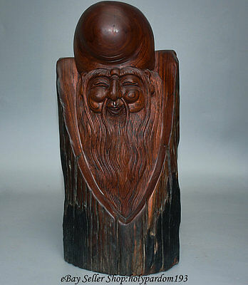 """12.4"""" Old Chinese Huang Huali Wood Longevity Immortal God Lucky Statue Sculpture"""
