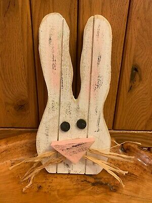 Primitive Farmhouse Easter Bunny Rabbit Head Bowl Fillers Shelf Sitters Handmade