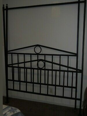 Hand Made Queen Size Black Wrought Iron Headboard & Footboard Only