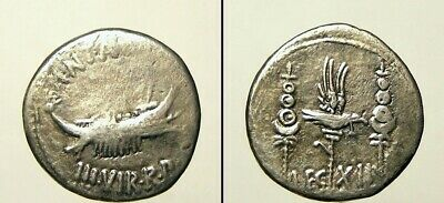 32-31 BC Mark Antony Denarius / mobile military mint / galley, rev. leg xii