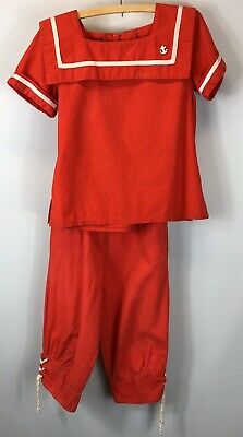 Vintage Outerworks Child's Red & White Sailor Style Suit - Top and Pants Size 7