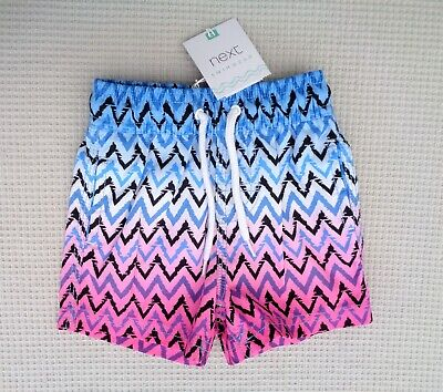 BNWT NEXT Baby Boys Blue White Black Pink Zigzag Swim Swimming Shorts 6-9months