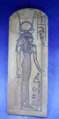 Ancient Egyptian Antiques Stela Relif Goddess Hathor Plaque Hieroglyphic 1809 BC