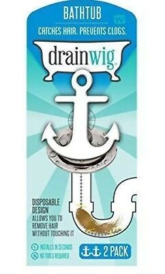 DrainWig BathTub Chain Drain Cleaner Bathroom Hair Clog Remover 1 Pack (2Pc)