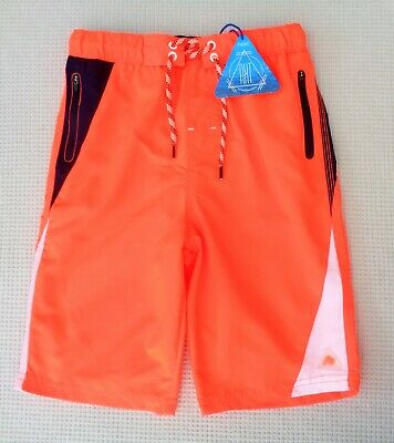 BNWT NEXT Boys Orange & Navy Blue Longer Length Swim Swimming Shorts 8-9 years