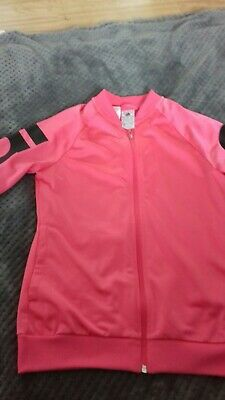 Adidas Tracksuit Top Girls Pink Age 13-14 Years addidas on the sleeves